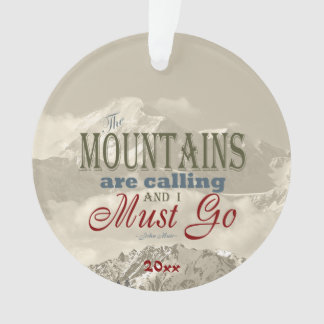 Vintage Typography The mountains calling Template Ornament