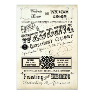"Vintage Typography Wedding 5"" X 7"" Invitation Card"