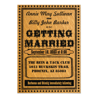 Vintage Typography Western Wedding Invitation