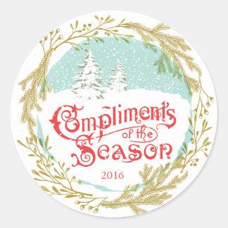 Vintage Typography Wreath Holiday Round Sticker