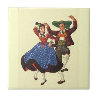 Vintage Tyrolean dancers, Austria Tile