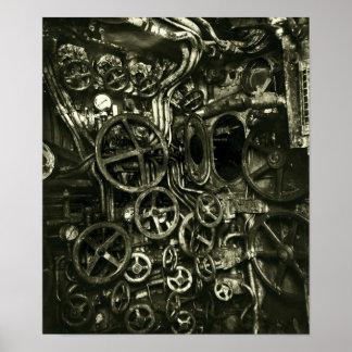"Vintage U-Boat ""Steampunk"" Control Room Poster"