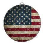 Vintage U.S. Flag Dartboard With Darts