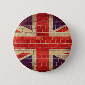 Vintage UK flag on a brick wall 2 Inch Round Button