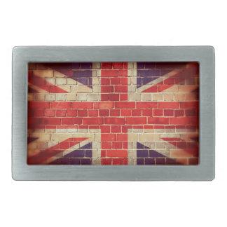 Vintage UK flag on a brick wall Belt Buckle