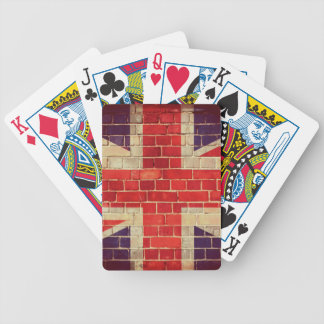 Vintage UK flag on a brick wall Bicycle Playing Cards