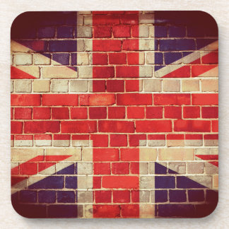 Vintage UK flag on a brick wall Coaster