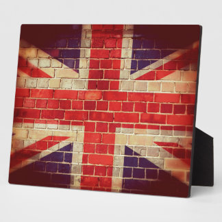 Vintage UK flag on a brick wall Plaque