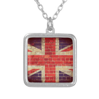 Vintage UK flag on a brick wall Silver Plated Necklace