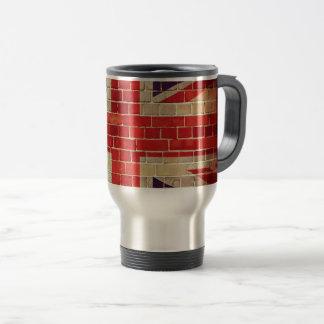 Vintage UK flag on a brick wall Travel Mug