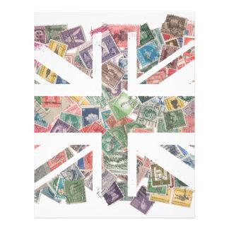 Vintage UK Flag Postage Stamp pattern Letterhead Design