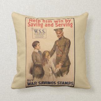 Vintage UK War Saving Stamps Throw Pillow