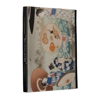 Vintage ukiyo-e japanese ladies with umbrella art iPad folio case