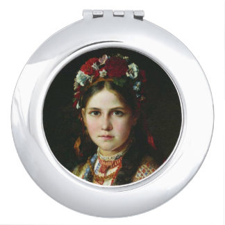Vintage Ukrainian Girl Vanity Mirror