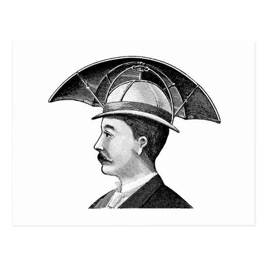 Vintage Umbrella Hat Steampunk Invention Postcard  a5dcab46f3a