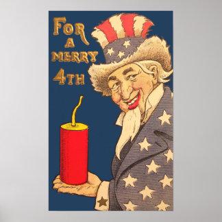 Vintage Uncle Sam 4th of July Poster