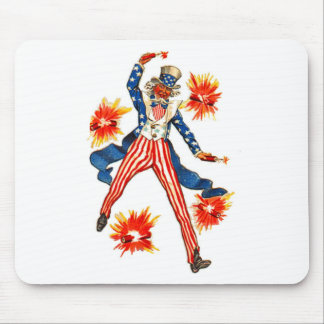 Vintage Uncle Sam Fireworks July 4th Mouse Pad