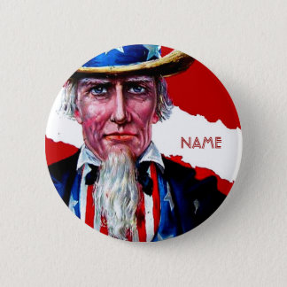Vintage Uncle Sam July 4th Add Text Name Tag Badge 2 Inch Round Button