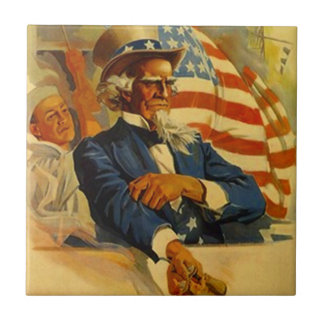 Vintage Uncle Sam Navy midshipman Patriotic Tile