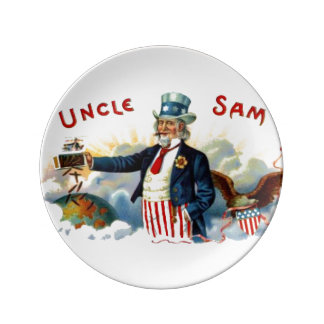 Vintage Uncle Sam Patriotic Cigar Label July 4th Plate