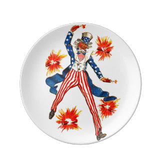 Vintage Uncle Sam Patriotic July 4th Plate