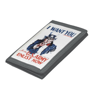Vintage Uncle Sam Sign Tri-fold Wallet