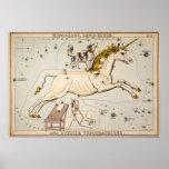 Vintage Unicorn Star Constellation Map Print