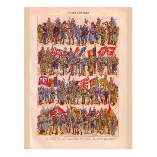 Vintage Uniforms of the First World War Postcard