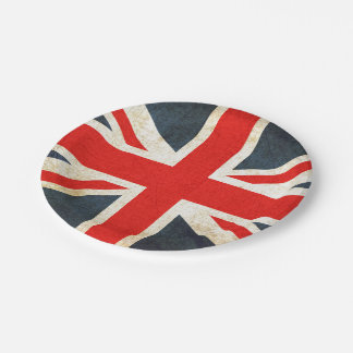 Vintage Union Jack British Flag Paper Plate