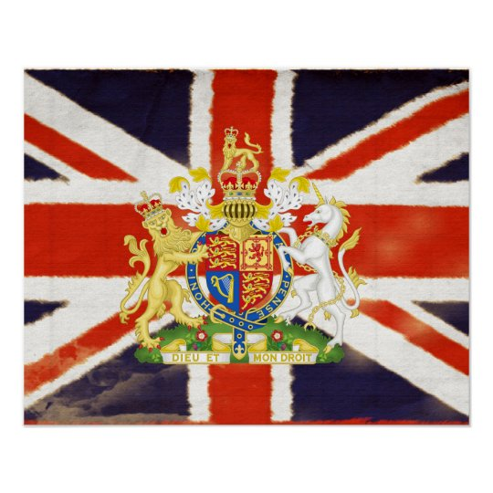 Vintage Union Jack Coat of Arms Mod Poster