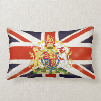 Vintage Union Jack Coat of Arms Throw Pillow