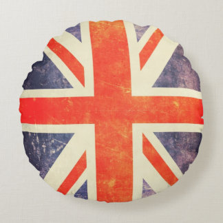 Vintage Union Jack flag Round Pillow