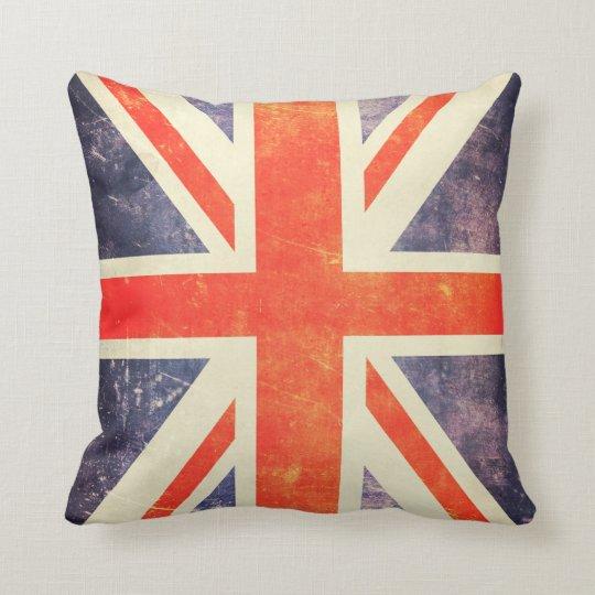 Vintage Union Jack flag Throw Pillow