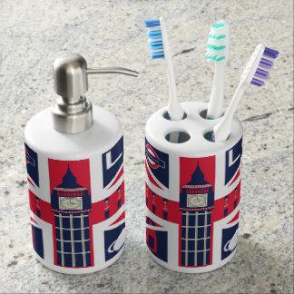 vintage union jack flag with london decoration bathroom set