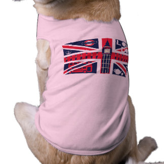 vintage union jack flag with london decoration doggie t shirt
