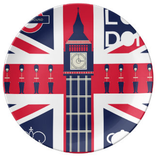 vintage union jack flag with london decoration plate