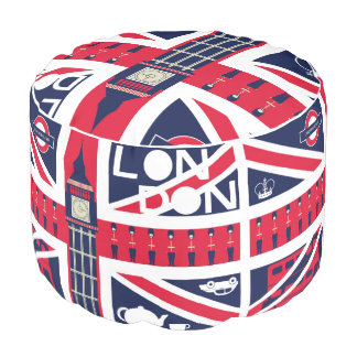 vintage union jack flag with london decoration pouf