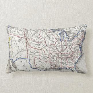 Vintage United States Gold Rush Regions Map (1852) Lumbar Pillow