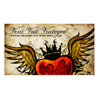 Vintage Urban Tattoo Winged Heart Business Cards