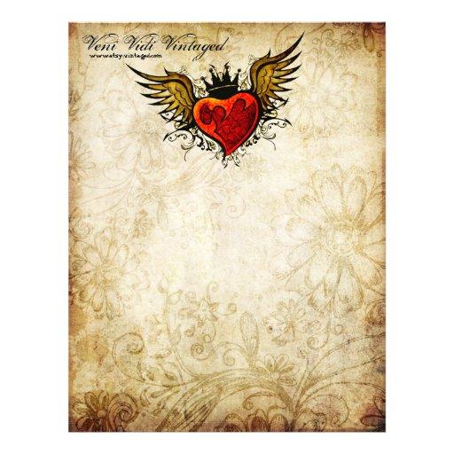 Vintage Urban Tattoo Winged Heart Letterhead