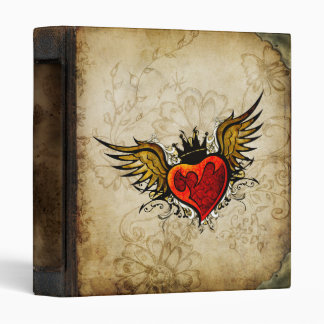 Vintage Urban Tattoo Winged Heart Letterhead Vinyl Binder