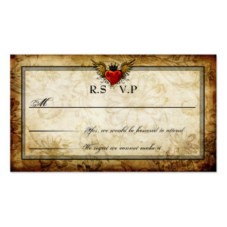 Vintage Urban Tattoo Winged Heart RSVP Cards Business Card Template