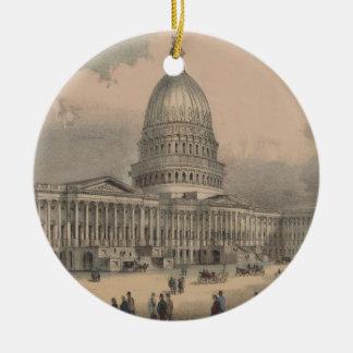 Vintage US Capitol Building Illustration (1872) Ceramic Ornament