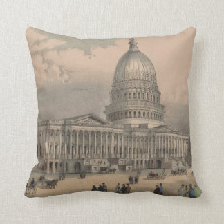 Vintage US Capitol Building Illustration (1872) Throw Pillow