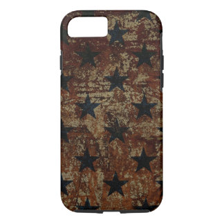 Vintage US flag stars on rusted background iPhone 7 Case