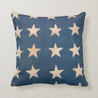 Vintage US Flag Stars Throw Pillow