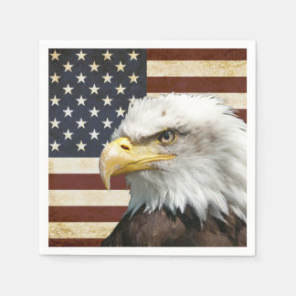 Vintage US USA Flag with American Eagle Disposable Napkin