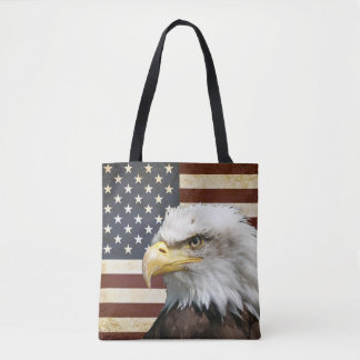 Vintage US USA Flag with American Eagle Favour Tote Bag