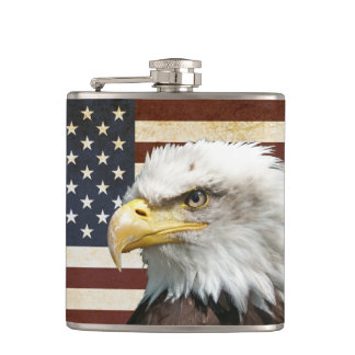 Vintage US USA Flag with American Eagle Hip Flask