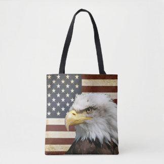 Vintage US USA Flag with American Eagle Tote Bag